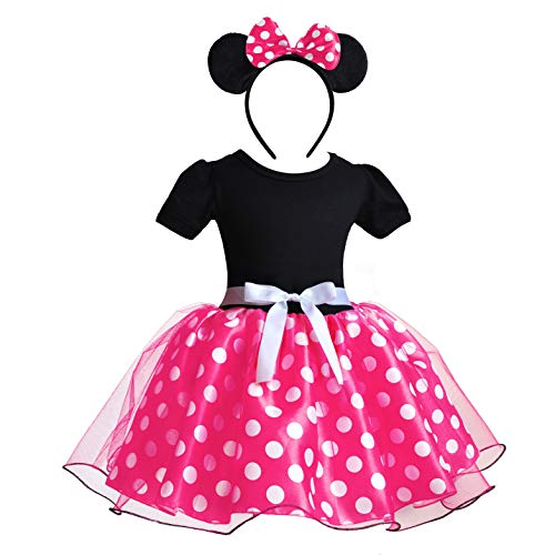 Kind Mouse Kostüm - Mädchen Minnie Mouse Schuhe Tie Dot Bow Princess Sandalen Jelly Schuhe Weihnachten Geburtstagsgeschenk für Kleinkind/Little Kid (3 Jahre(Höhe100cm), Rosa)