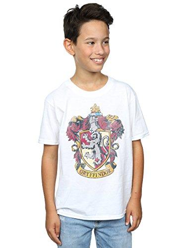 HARRY POTTER Jungen Gryffindor Distressed Crest T-Shirt 7-8 Years Weiß