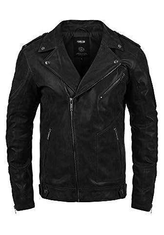 SOLID Mash - Veste en cuir véritable- Homme, taille:XXL, couleur:Black (9000)