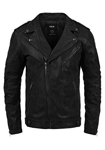 SOLID Mash Herren Lederjacke Echtleder Bikerjacke mit zahlreichen Metall-Details aus 100% Leder, Größe:L, Farbe:Black (9000)