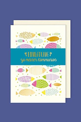 Kommunion Einladungen Karte 5er Set viele bunte Fische Doppel Karten Einleger B6