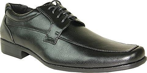 BRAVO Men Dress Shoe MONACO-4 Classic Oxford with Square Moc Toe and Leather LiningBlack 11M by Bravo!