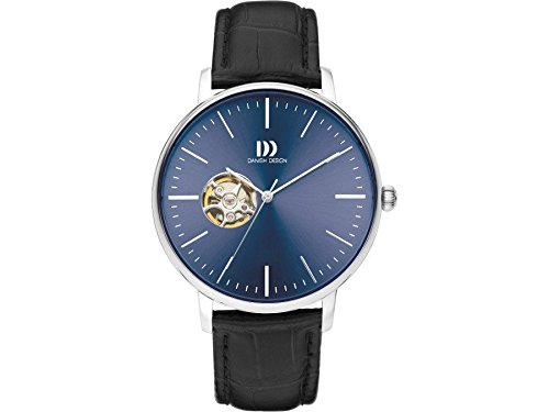 Danish Design Men's 42mm Black Leather Band Steel Case Automatic Blue Dial Analog Watch IQ22Q1160