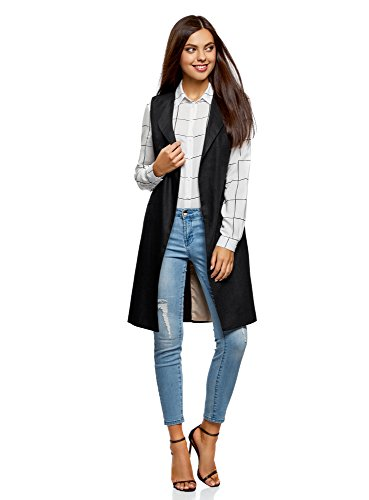 oodji Collection Damen Langer Leinen-Blazer, Schwarz, DE 34 / EU 36 / XS