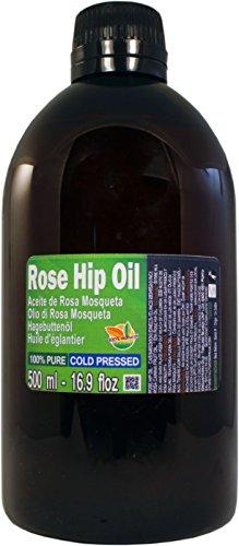 Aceite de Rosa Mosqueta 100% Puro. Botella Extra Grande de 500 ml (Medio Litro) Origen Chile - Virgen Extra, Natural, Producto Sustentable