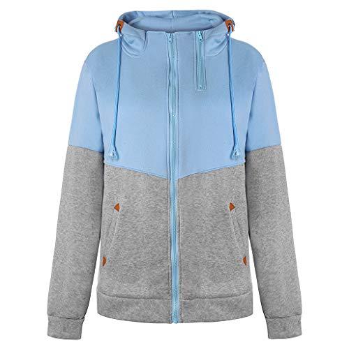 (Yvelands Damen Sweatshirt Mantel Plus Größe Reißverschluss mit Kapuze lose Farbe passende Tasche Pullover)