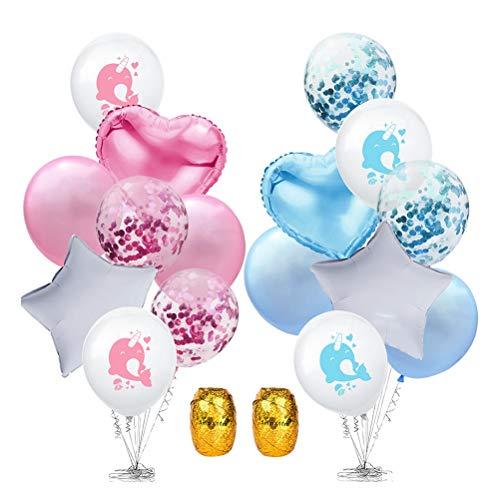 Amosfun Doppelstrahl Blau und Rosa Ballons Set Dekorative Narwhal Latex Ballon für Geburtstag Baby Shower Party Dekoration Lieferungen (Farbe)