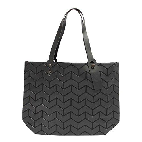 Frauen Mode Lingge Welle Umhängetasche Peeling Handtasche Black