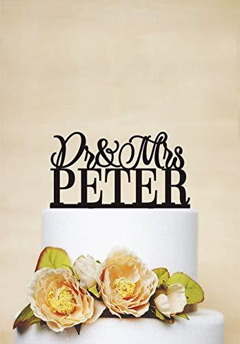 Tortenaufsatz Dr. und Mrs Hochzeitstorte mit Nachnamen, einzigartiger Tortenaufsatz, Kuchendekoration, elegant