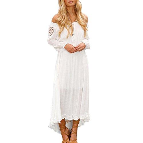 e Schulterfrei Strandkleid Frühling Sommer kleid karneval Party kleid Lace Up Patchwork Elastisches Langarm Kleid Maxi Kleid(A-Weiß,L) (Weiß Flapper Girl Kostüme)