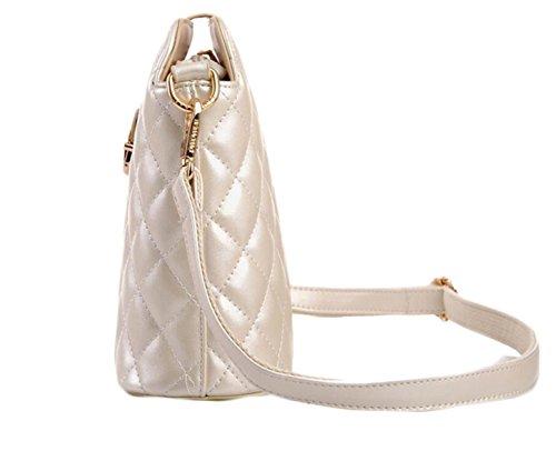 Borse PU Modo Griglia Ricamati Tracolla Messenger Bag Pacchetto Diagonale Metallic