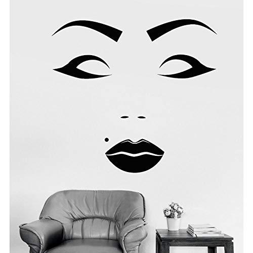 YANGSHUANG Wandaufkleber Schöne Weibliche Gesicht Vinyl Wandaufkleber Beauty Spot Salon Make-Up Aufkleber Künstlerische Design Tapete Heißer Verkauf Wandbild 73x79cm (Ganze Verkauf Make-up)