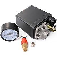 XCSOURCE compressore d'aria a pressione interruttore di controllo Heavy Duty monofase 4 porte nero 220V 20A 0.8MPa con calibri Valvola di sicurezza HS599