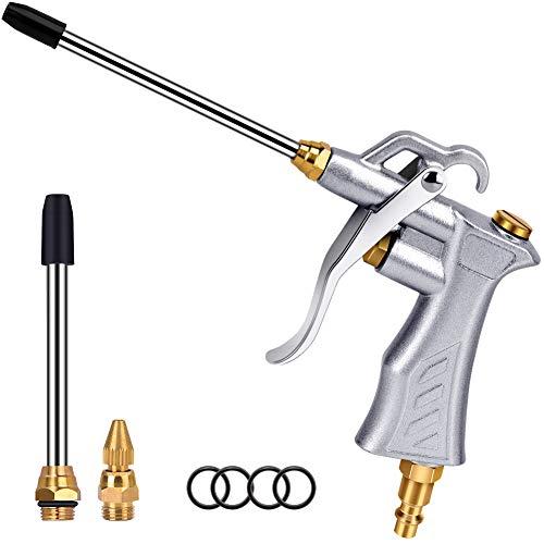 Professionelle Luftpistole mit Kupfer einstellbarer Luftdurchflussdüse und 2 Stahl-Luftstromverlängerung, Pneumatischer Kompressor Zubehör Werkzeug Staubreinigung Luftgebläse Düse Pistole -