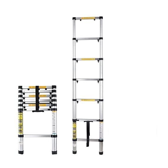 Okayji Aluminium Folding Step Ladder Portable and Compact 7-Steps Telescopic Foldable for Household and Outdoor Purpose, 1- Pieces