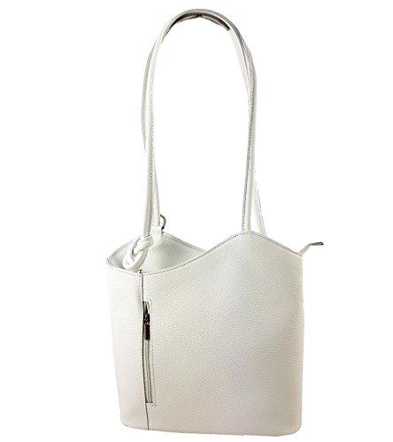 2 in 1 Handtasche Rucksack Designer Luxus Henkeltasche aus Echtleder in versch. Designs (Glattleder Weiß)