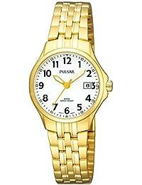 Pulsar Uhren Klassik PH7224X1 - Reloj analógico de cuarzo para mujer, correa de acero inoxidable chapado color dorado