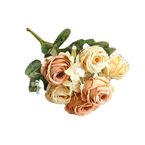 Floridivy Künstliche Blumen 6 Köpfe Rose Bunch DIY Brautstrauß Fotografie Props Hochzeit Schlafzimmer Wohnzimmer Gefälschte Blume