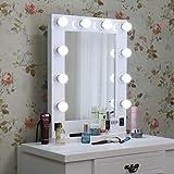 LUVODI Miroir Maquillage lumineux Grand Miroir de Table Hollywood 10 LED Intensité Réglable Miroir Mural Cadre en Bois et Base Amovible Design Artistique pour Coiffeuse 50 x 66cm Blanc