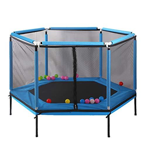 YGUOZ Kinder Trampolin, Startseite Garten Indoor Outdoor Trampolin mit Sicherheitsnetz Sprungmatte Hochfeste Federn, Trampolin Set,Blue_62in