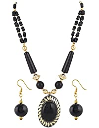 Aradhya Black Color Designer Tibetan Style Necklace With Earrings For Women And Girls