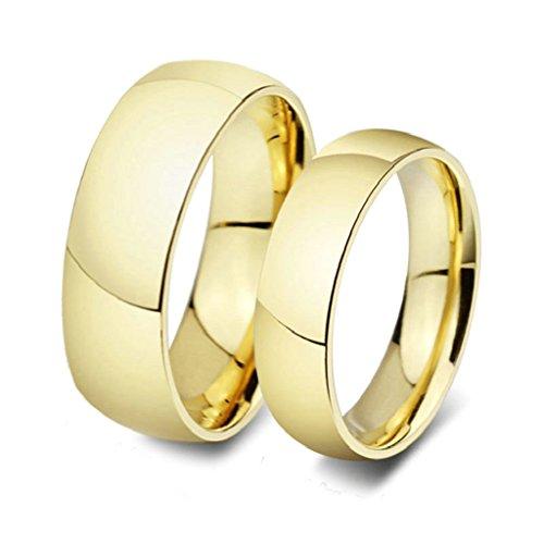 Gnzoe 2pcs Gioielli Anello da Uomo Donna,Anelli,18K Placcato Oro,6MM/8MM,Oro (con Borsa (Primo Uomo A Piedi Luna)