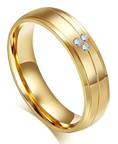 Edelstahlring Paare Damen Ringe Hochzeit Bandringe Gold Poliert Diamant Verlobungsring Größe 60 (19.1) - Adisaer (20 Kostüme Top Paare)