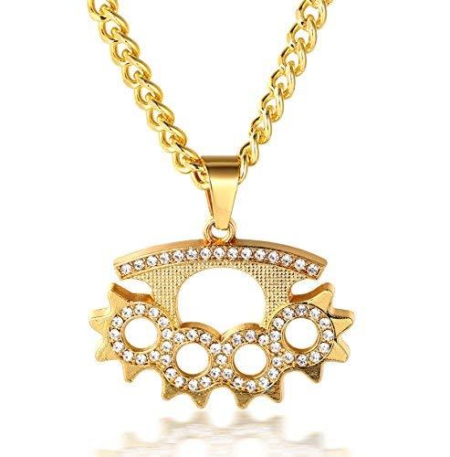"""Halukakah ● Bangdit ● Männlich 18k Echt Vergoldet Verteidigung Handschuh Anhänger Künstliche Diamanten Gesetzt Halskette mit Kostenloser Kubanische Kette 30\"""""""