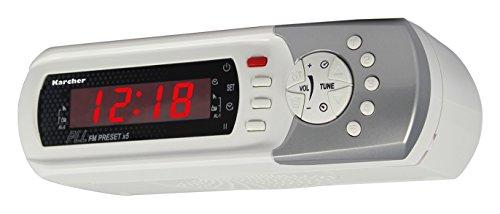 Radio de cuisine Karcher RA 2022 (encastrée/sur la table, radio FM PLL, fonction réveil, minuteur) blanche.