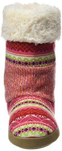 Dearfoams Tall Patchwork Boot With Memory Foam, Chaussons femme Multicolor (Bright Combo 10977)