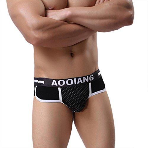 Bóxer para Hombre, Amlaiworld Calzoncillos para Hombre Boxer Briefs Ropa Interior Suave del algodón (M, Negro)