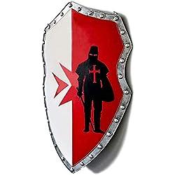 SDBRKYH Escultura de Pared Decorativa Medieval, Escudo de Guerrero Cruzado Escudo Romano Decoración de Pared Retro