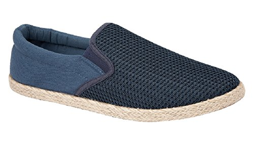 Mens Slip On Trainer Canvas Cork (Hessian) Sole Trim Twin Gusset Espadrille (UK 7, Navy)