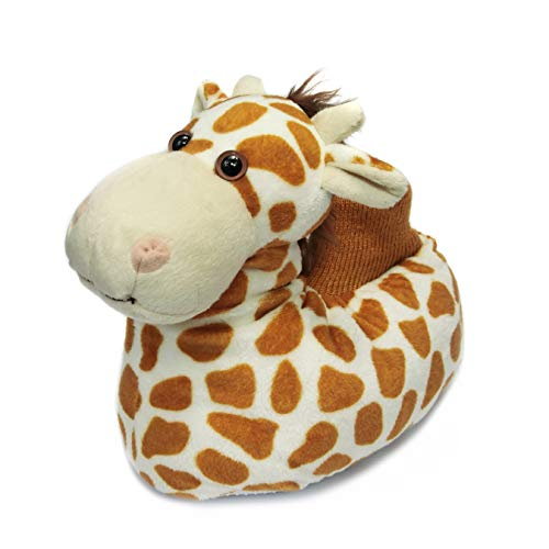 Fuzzy Animal Giraffe Slippers for Toddler and Little Kids