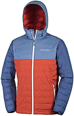 Columbia Powder Lite Hooded Jacket Doudoune à Capuche Homme, Rust Red/Steel, FR : L (Taille Fabricant : L)