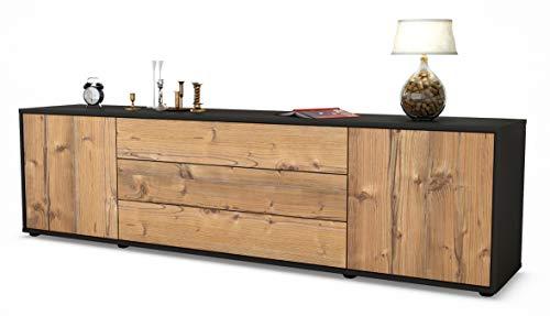 Stil.Zeit TV Schrank Lowboard Ariella, Korpus in Anthrazit Matt/Front im Holz-Design Pinie (180x49x35cm), mit Push-to-Open Technik und Hochwertigen Leichtlaufschienen, Made in Germany