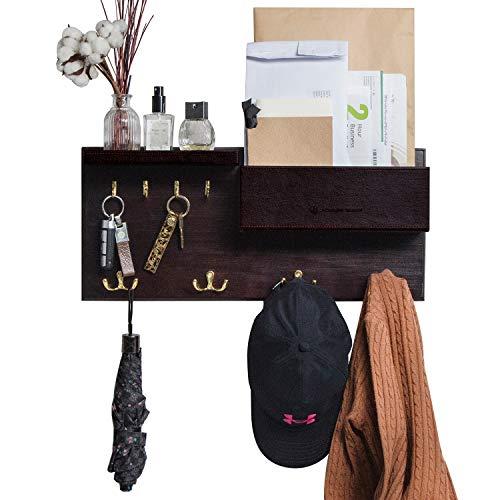 JackCubeDesign Eingangsbereich Garderobe Wandhalterung Schlüsselhalter Mail Envelope Hook Organizer Kleidung Hut Kleiderbügel mit Leder Regal und Tray (Massivholz, 52,1 x 23,1 x 8,6 cm) - MK362B -