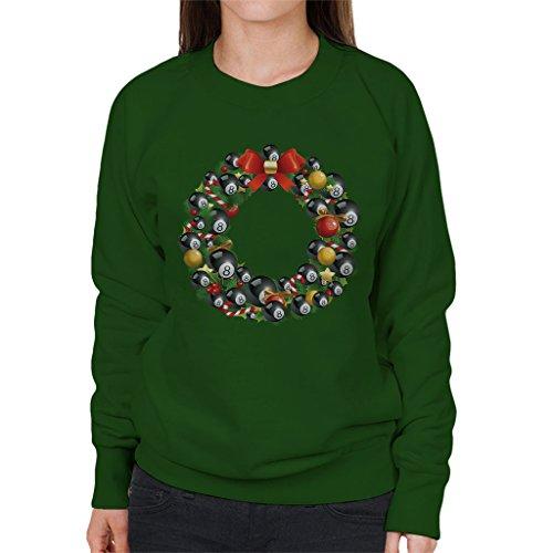 Christmas Eight Ball Pool Ball Wreath Women's Sweatshirt Bottle Green