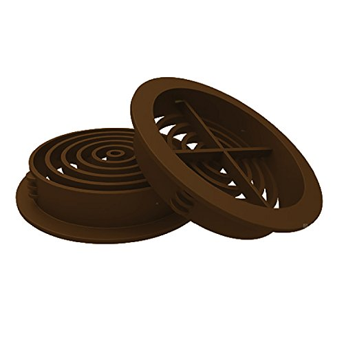 10 x 70mm Brown Plastic Round Soffit Air Vents / Upvc Push in Roof Disc / Fascia by Manthorpe