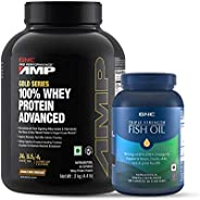 GNC Amp Gold Series 100% Whey Protein Advanced - 4.4 lbs, 2 kg (Double Rich Chocolate) and Triple Strength Fis