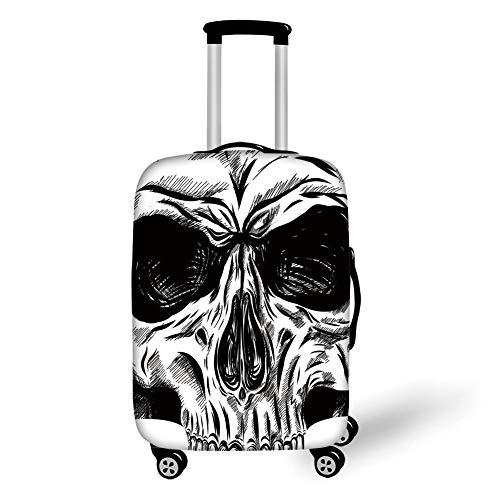 Suitcase Protector,Halloween,Gothic Dead Skull Face Close Up Sketch Evil Anatomy Skeleton Artsy Illustration Decorative,Black White,for Travel L ()