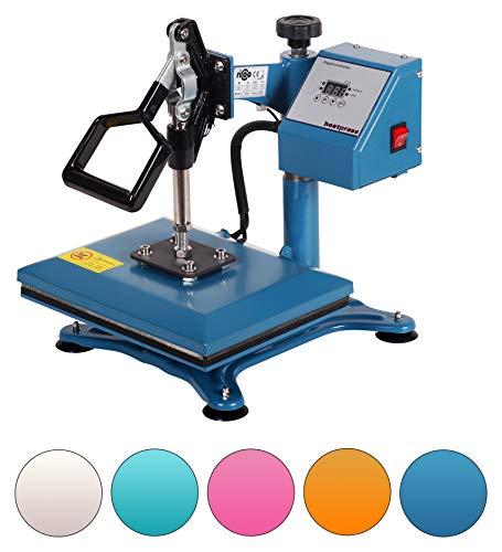 RICOO Transferpresse Textilpresse Power Zwerg-GS Textildruckpresse Schwenkbar Thermopresse Transferdruck Bügelpresse Textil T-Shirtpresse Sublimationspresse Flexfolie und Flockfolie Azur Blau