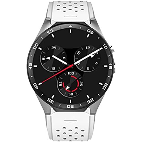Letech KW88 3G mobile, Smart Watch Phone con GPS WIFI 5.0MP fotocamera Heart Rate Monitor Quad Core 1.39 pollici HD schermo rotonda Bluetooth V4.0 Pedometro sonno Quality Monitoring multifunzione per Andriod e iOS Smartphone Watch (bianca)