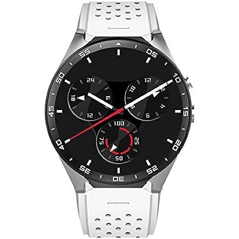 Letech KW88 3G mobile, Smart Watch Phone con GPS WIFI 5.0MP fotocamera Heart Rate Monitor Quad Core 1.39 pollici HD schermo rotonda Bluetooth V4.0 Pedometro sonno Quality Monitoring multifunzione per Andriod e iOS Smartphone Watch (bianca)
