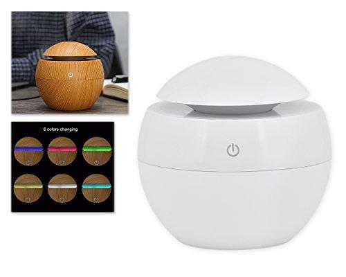 DSstyles Öl Diffusor 130ml Luftbefeuchter Holz Korn Cool Mist Luftbefeuchter Aroma Diffusor mit 6 Farben LED Licht - Weiß
