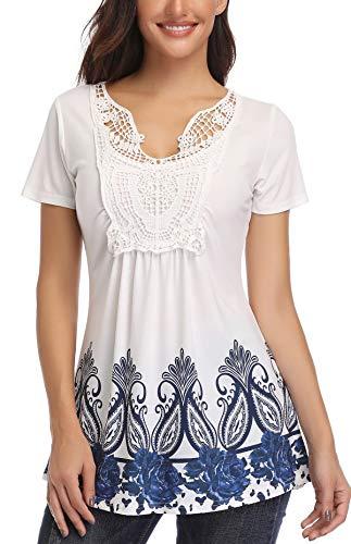 MISS MOLY Camisetas Mujer Manga Corta Blusa Verano Camisas Cuello v Elegantes impresión Azul Small
