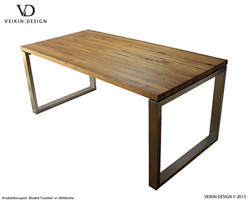 """Esstisch Eiche massiv """"London"""" 220 x 100 cm, Designer Tisch Massivholz mit Edelstahl, Holztisch Metall Stahl, Tisch Holz, Premium Esszimmertisch !!!"""