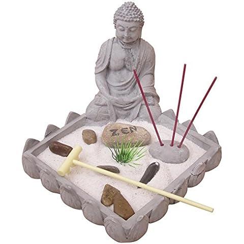 Conjunto de Jardín ZEN sobre una bandeja coronada con una estatuilla de Buda con 1 portaincienso, 3 varitas de incienso, arena blanca, piedras, un rastrillo,