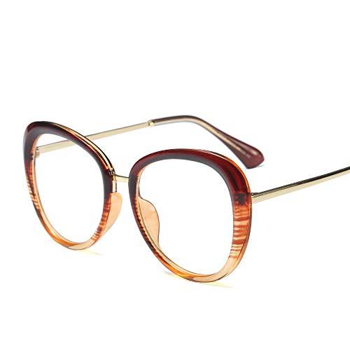 Shengjuanfeng-brillen Mode Vintage Metall Wild Brille Horn umrandeten klare BrillenglasMänner und Frauen Accessoires (Farbe : Braun)