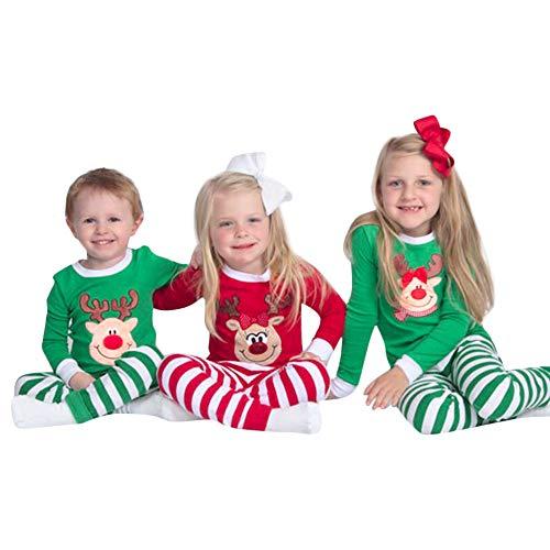 Riou Weihnachten Baby Kleidung Set Kinder Pullover Pyjama Outfits Set Familie Kleinkind Baby Bruder Schwester Boy Tops Streifen Hosen Nachtwäsche Set Tuch (110, Grün)